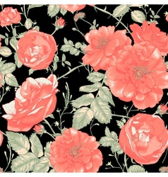 Vintage Seamless Romantic Roses Background vector image