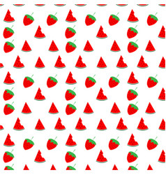 watermelon and strawberry seamless pattern design vector image