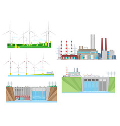 wind turbines coal power plant and hydro station vector image