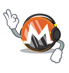 With headphone monero coin character cartoon vector