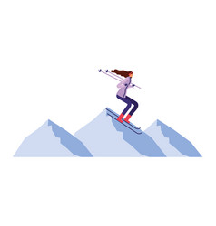 Woman practicing ski in the winter landscape vector