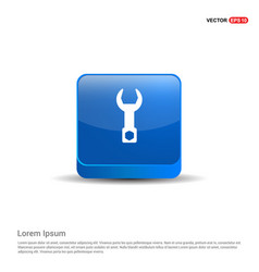 wrench icon - 3d blue button vector image