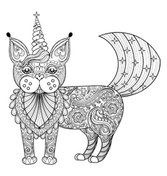 Zentangle magic cat unicorn black print vector