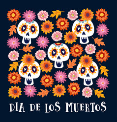 dia de los muertos or halloween greeting card vector image