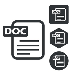 DOC document icon set monochrome vector image