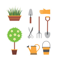 garden set with tools vector image vector image