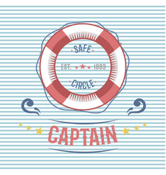 lifebuoy nautical and marine sailing themed label vector image vector image