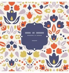Ornamental folk tulips frame seamless pattern vector image vector image