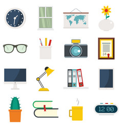set flat cartoon office and house items vector image