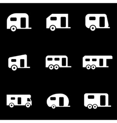 white trailer icon set vector image vector image