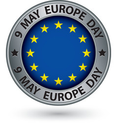 9 may Europe day silver label with flag vector image vector image
