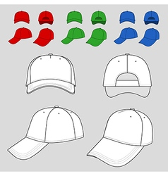 Baseball tennis cap outlined colored template vector image vector image