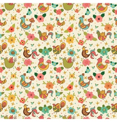 Cute floral seamless pattern with birds vector image vector image