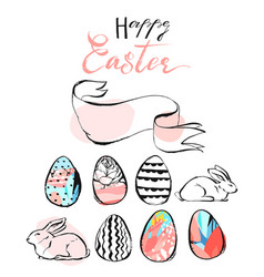 hand drawn abstract happy easter vector image vector image