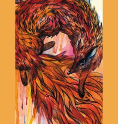 hand drawn fox in watercolor vector image vector image