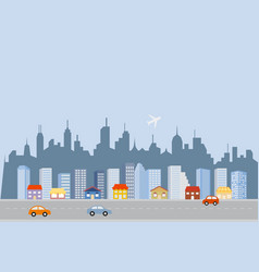 downtown big city skyline vector image vector image