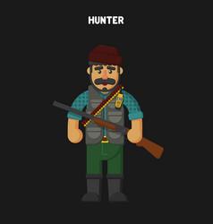 hunter flat cartoon style vector image