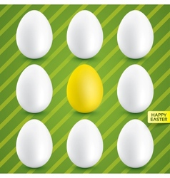 White eggs with gold egg in center collection vector image vector image