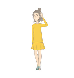 young caucasian hippie woman scratching her head vector image