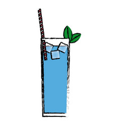 Blue cocktail glass with mint ice straw and vector