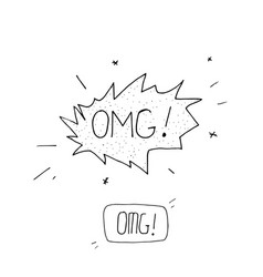 comic speech bubble with expression text omg vector image vector image