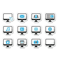 Computer screen icons set as labels vector image