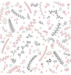Cute floral seamless pattern with hearts vector image vector image