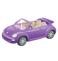 detailed purple convertible car cartoon isolated vector image