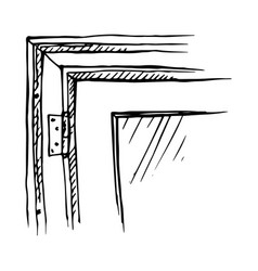 drawn fragment of a window frame vector image