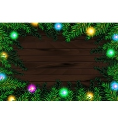 Frame of detailed Christmas tree branches vector image
