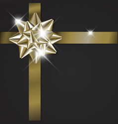 golden bow on a ribbon with black background vector image
