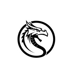 original dragon face head black dragon face vector image vector image
