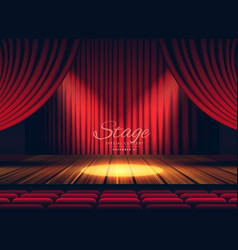 premium red curtains stage theater or opera vector image vector image
