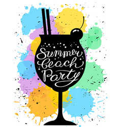 summer beach party calligraphic lettering vector image vector image