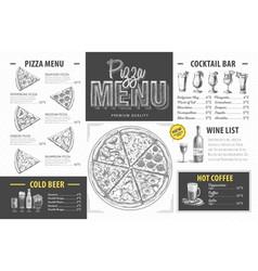 vintage pizza menu design restaurant menu vector image