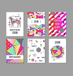 2018 new year memphis style abstract posters vector