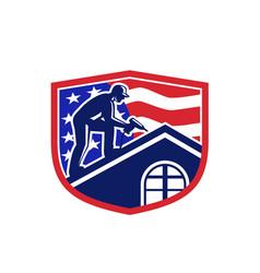 american roofer usa flag crest retro vector image