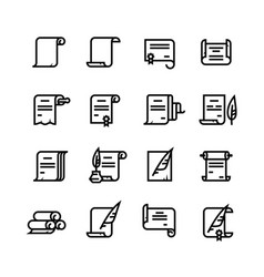 ancient paper scrolls and documents icons vector image