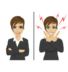 Angry and happy expressions of businesswoman vector