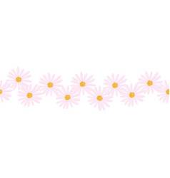 aster flowers seamless border vector image