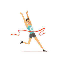 athletic man taking part in running competition vector image