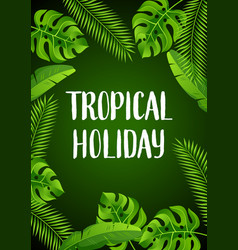 Background with tropical palm leaves exotic vector