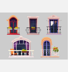 balconies with glass windows fence and flowers vector image