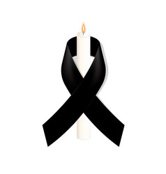 Black awareness ribbon with white candle on white vector
