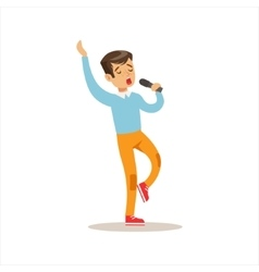 Boy Singing Creative Child Practicing Arts In Art vector