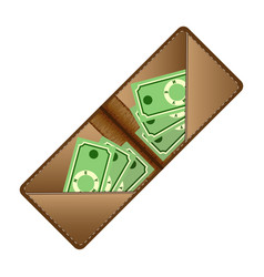brown wallet with green banknotes flat vector image