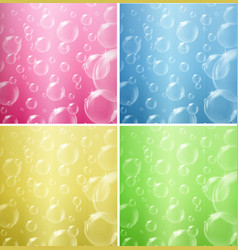 bubbles floating on four different color vector image