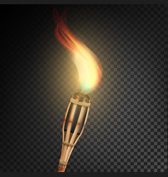 Burning beach bamboo torch with flame realistic vector