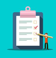 checklist symbol survey icon with man vector image