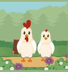 Chicken and roast cute animals cartoons vector